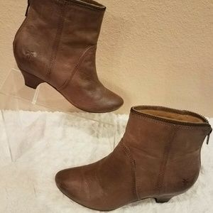 Frye Steffi Zip Short Boots Booties Ankle Leather